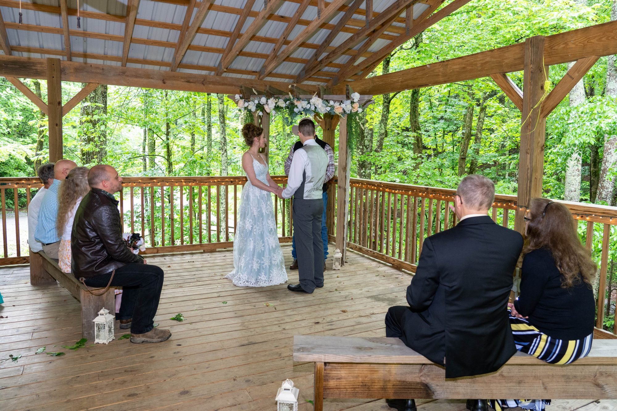 Covered Pavilion Woodland Wedding Little Mountain Hideaway