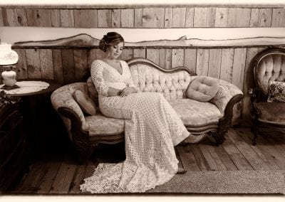 Bride on couch
