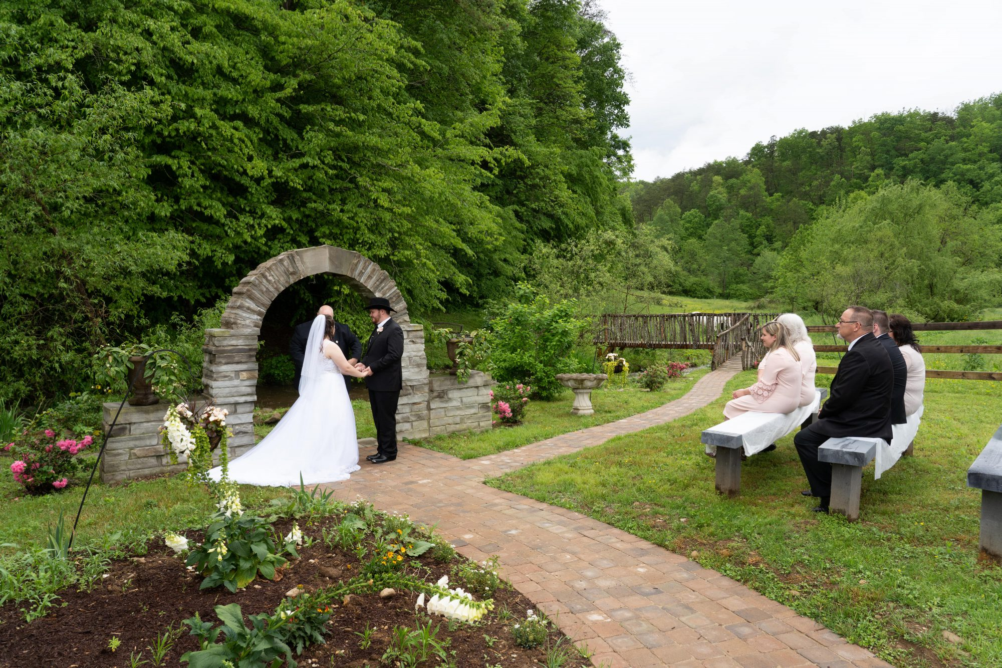 Stone Arch Wedding Ceremony Early Spring