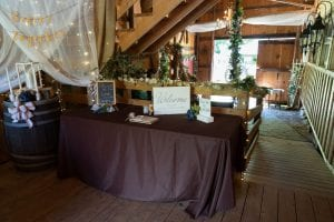welcome barn entry set up